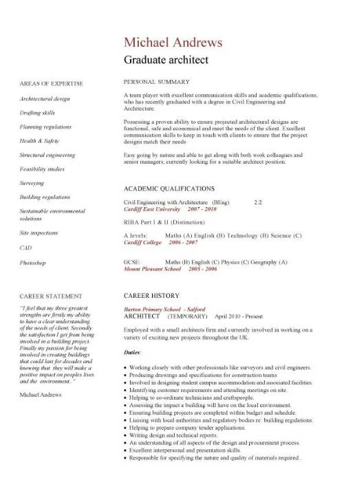 graduate architect cv sample  civil structural