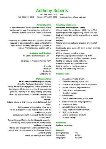 graduate financial advisor CV