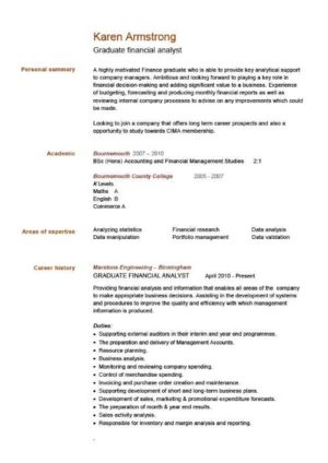 graduate financial analyst CV example click to see the PDF version
