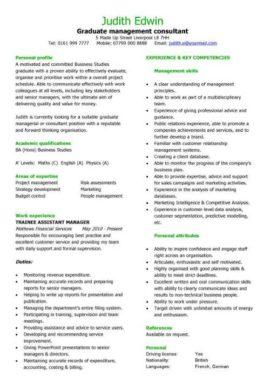 graduate management consultant CV