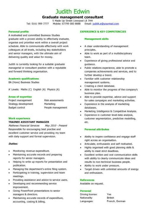 Graduate Management Consultant CV Sample
