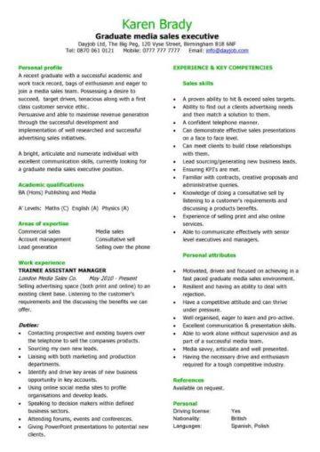 graduate media sales executive CV template
