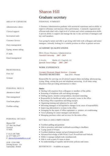 graduate secretary CV template