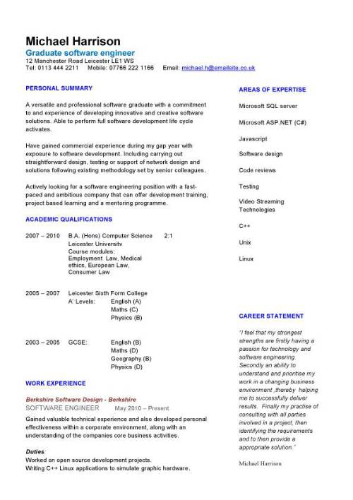 graduate software engineer cv sample  how to write a cv
