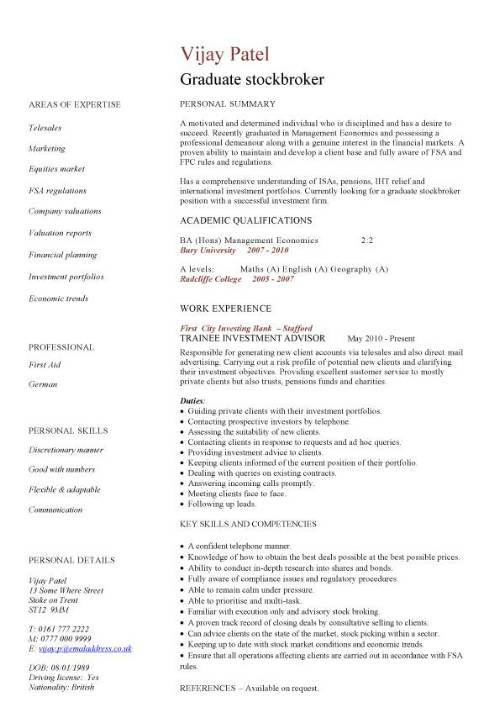 graduate stockbroker cv sample  buying shares  stocks  job