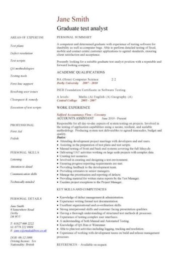 graduate test analyst CV template