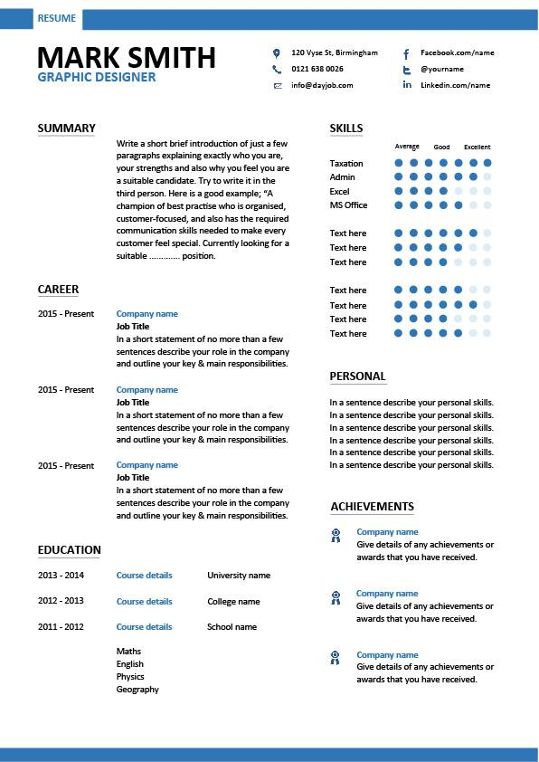 MODERN GRAPHIC DESIGNER RESUME TEMPLATE DESIGN