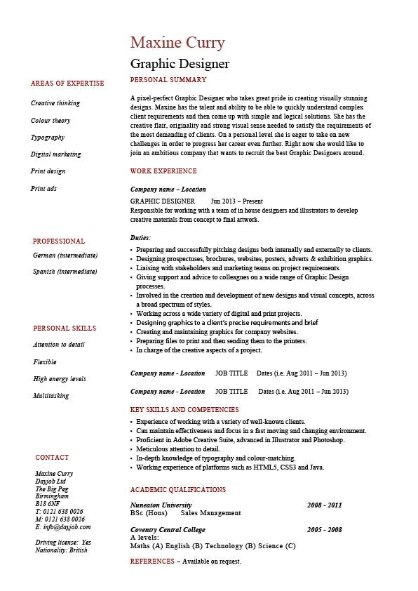 graphic designer resume 1  example  job description  designing websites  logos  career history  cv