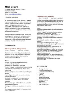 head teacher CV template