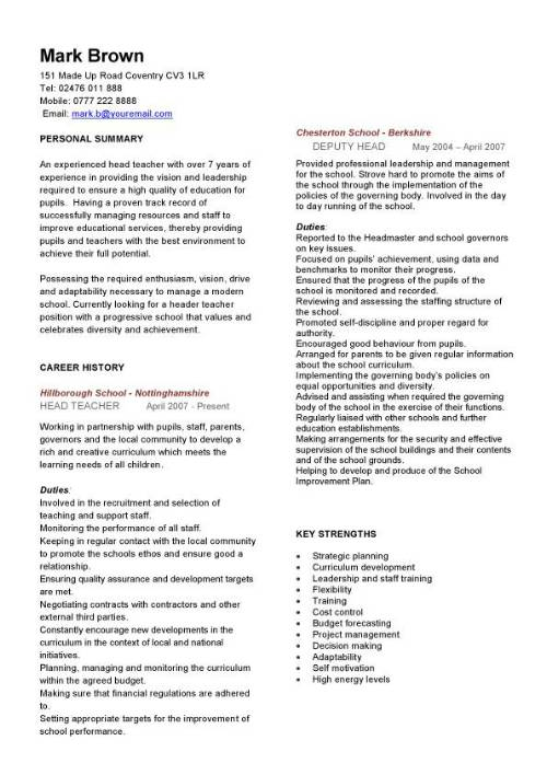 head teacher cv sample  curriculum vitae  teaching cv  job