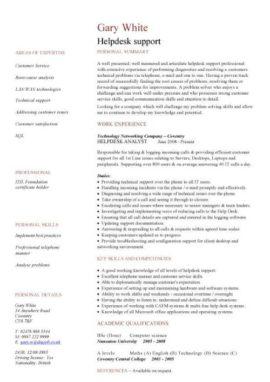 helpdesk CV template