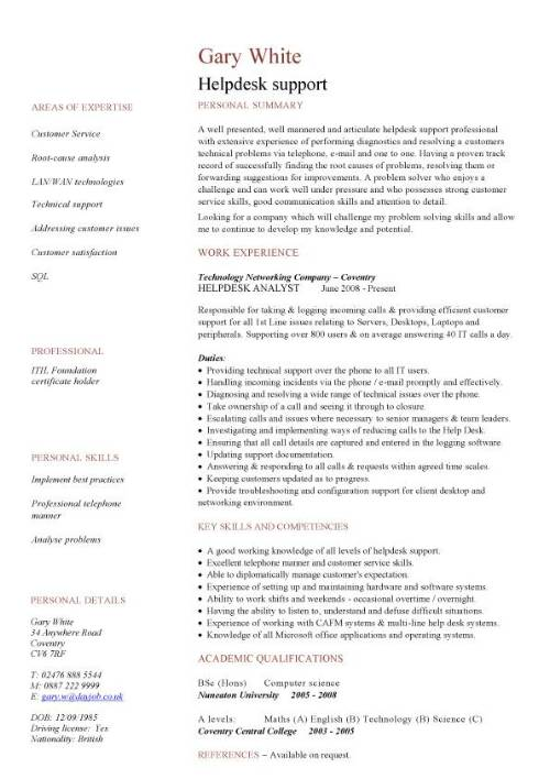 Helpdesk Cv Sample Writing A Cv Resume Curriculum Vitae Job
