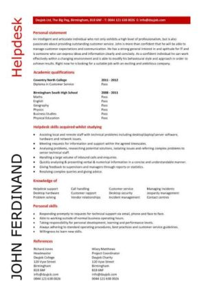 entry level helpdesk resume template