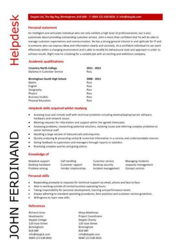 entry level helpdesk resume template