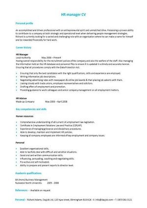 We have many CVs and matching Cover Letters written for HR Managerial roles.