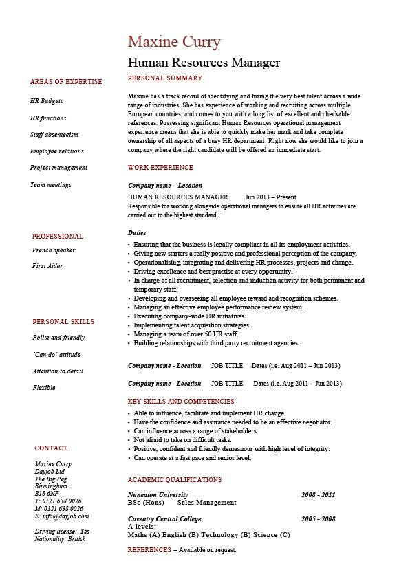 Human Resources Manager Resume Job Description Template Sample