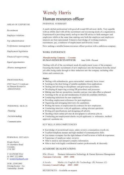 human resources officer cv sample