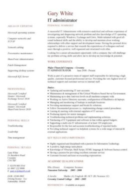 IT administrator CV template