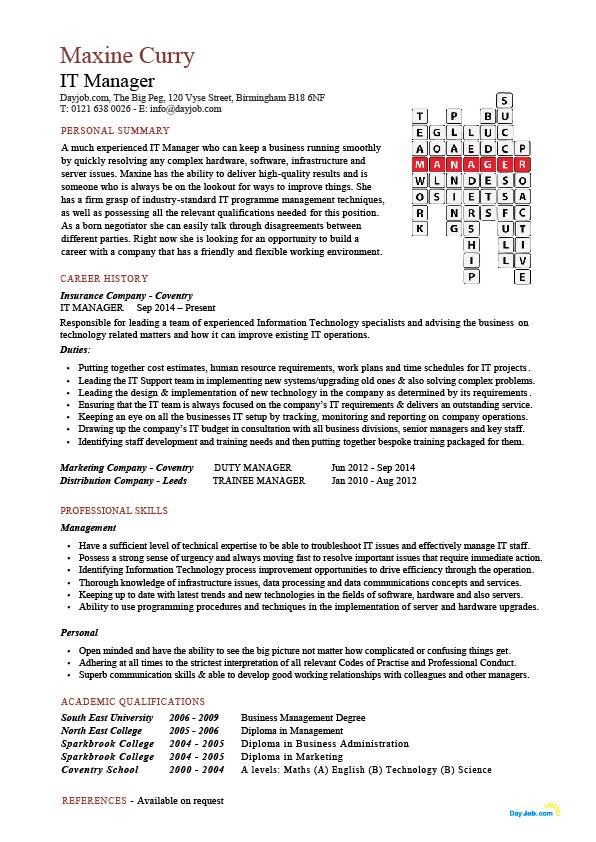 IT manager crossword CV template