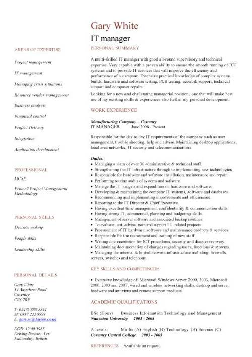 it manager cv sample  managerial resume  team leader  career history  targeted cvs  jobs