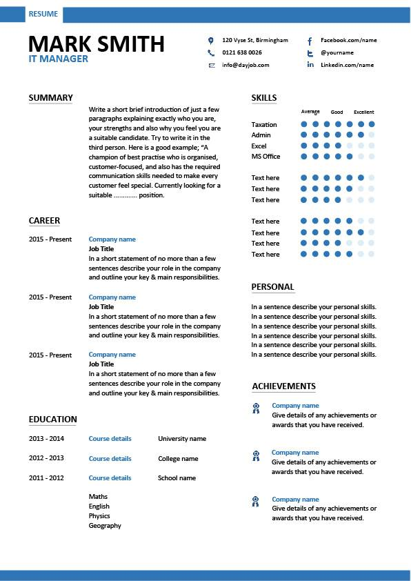 IT manager modern resume template