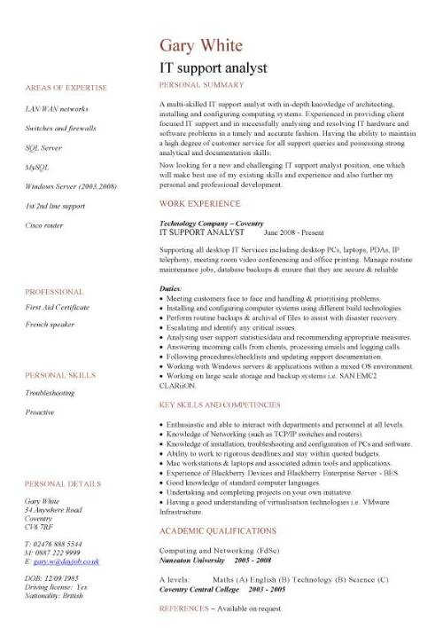 IT Support Analyst CV Sample