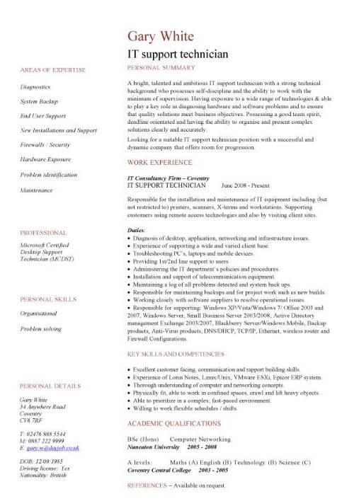 it support technician cv sample  job description  cvs