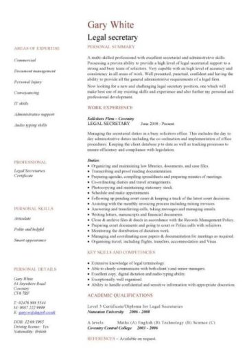 legal secretary CV template