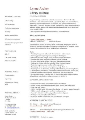 library assistant CV template