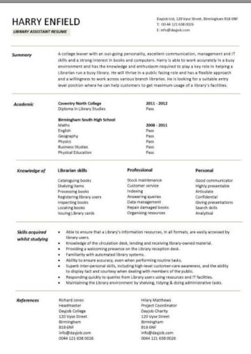 entry level library assistant resume template