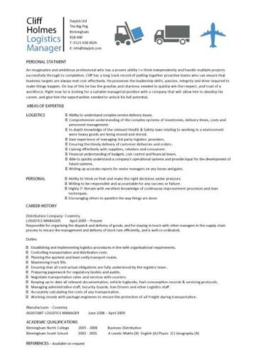 logistics manager resume templates  cv  job description