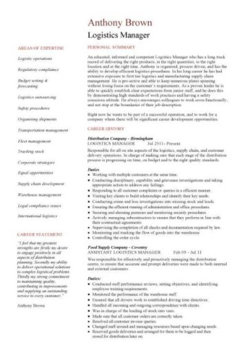 Logistics manager CV template, example, job description ...