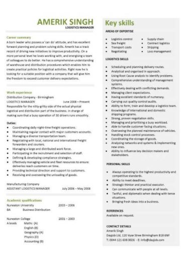 logistics manager cv template  example  job description  supply chain manager  delivery of goods  c