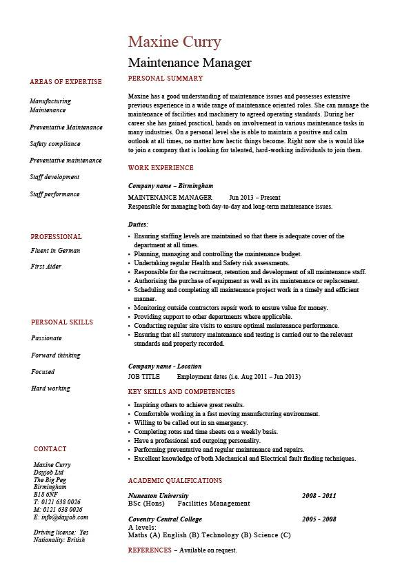 maintenance manager resume  example  job description  samples  repairs  building work  teams