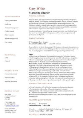 managing director CV template