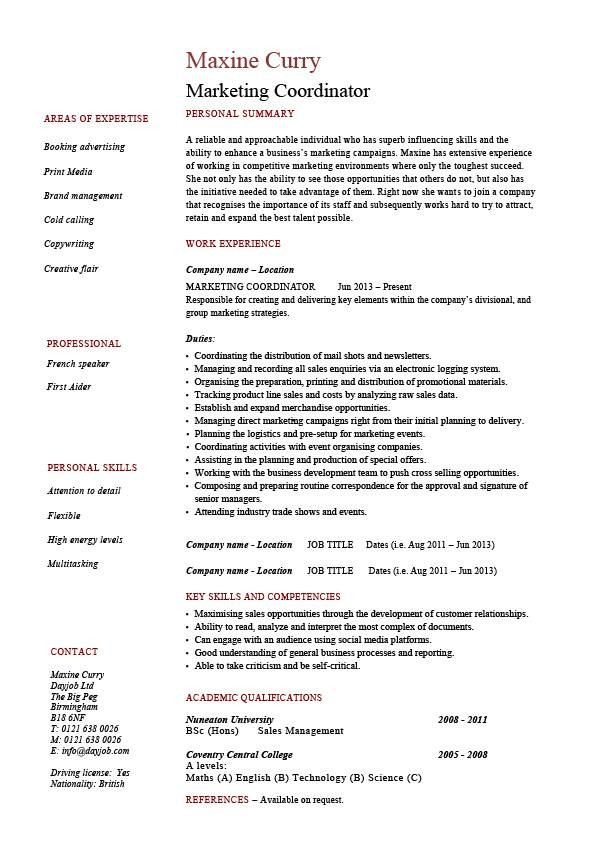 Marketing Coordinator Resume Sales Example Sample Advertising