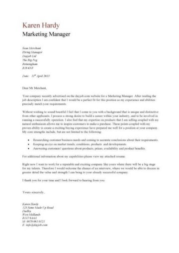 marketing director cover letters