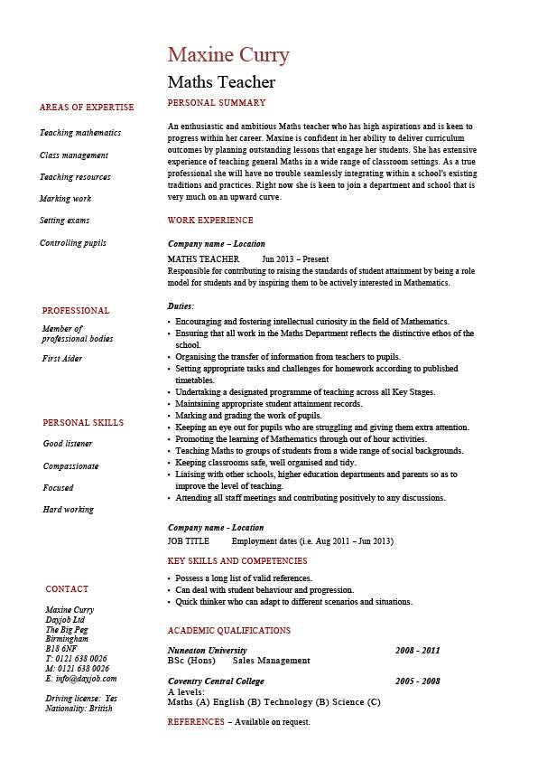 Maths Teacher Cv Template Maths Teacher Job Mathematics
