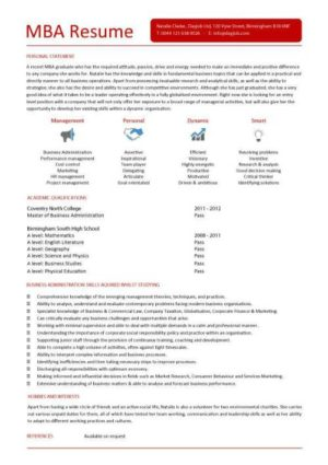 entry level MBA resume