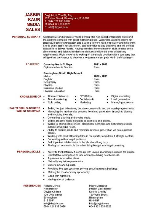 student entry level media sales resume template