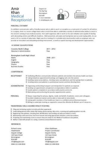 entry level medical receptionist resume
