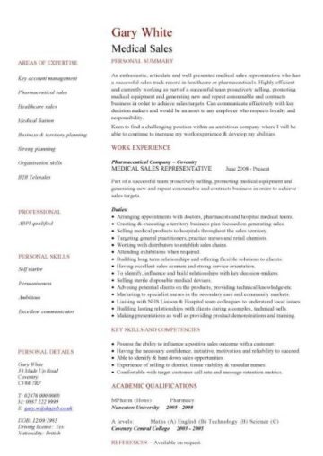 medical sales CV template