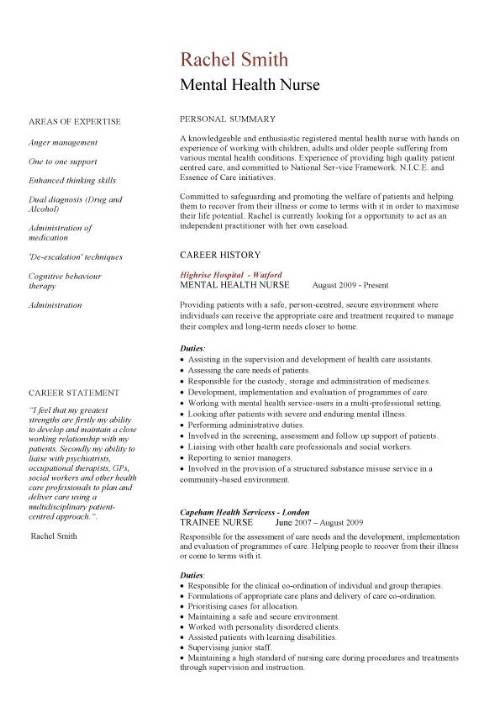Mental Health Nurse Cv Sample Career History Resume Example