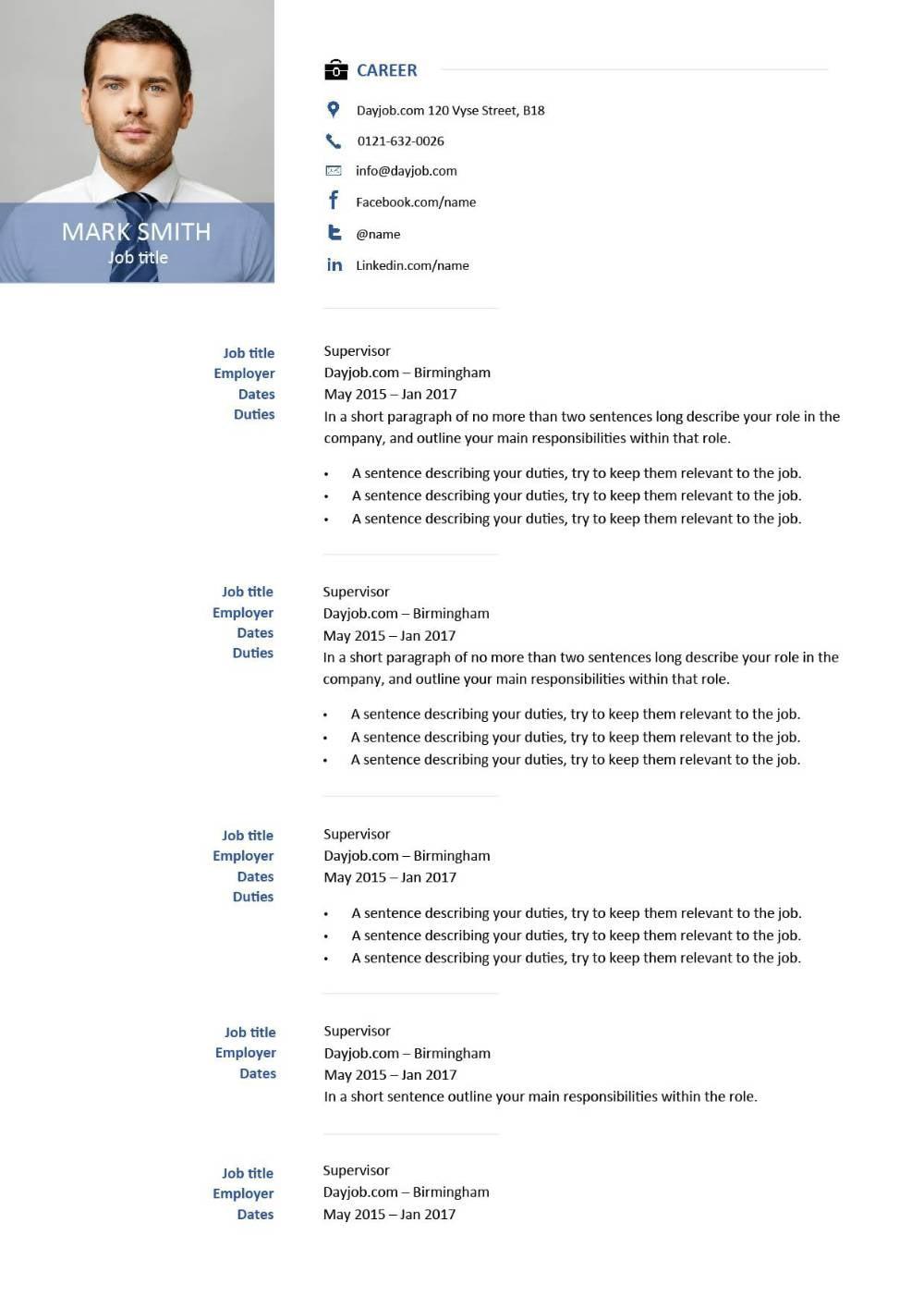 modern resume template 6 examples sample new design