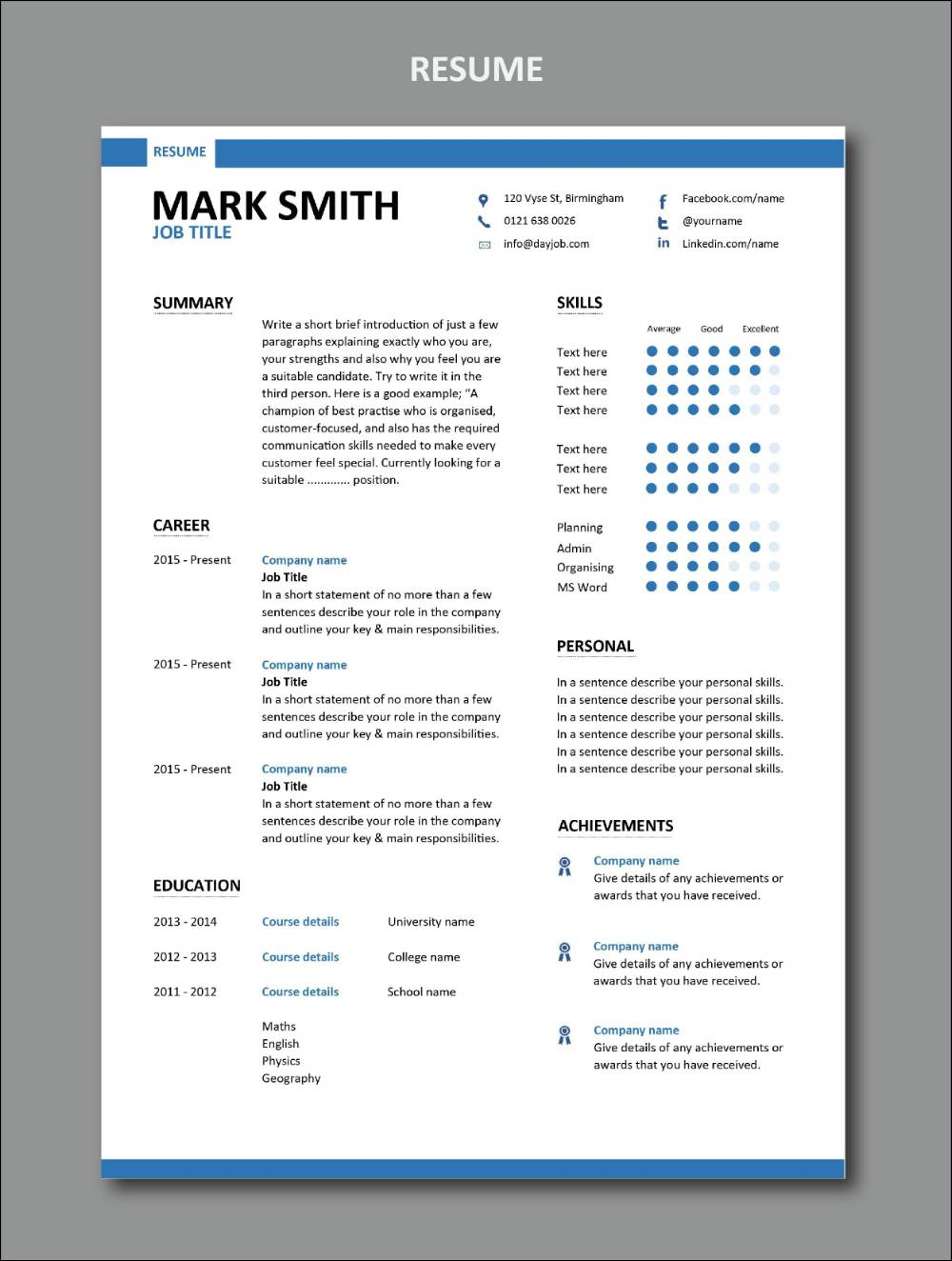Stylish free resume template set forecasting to wear for on every day in 2019