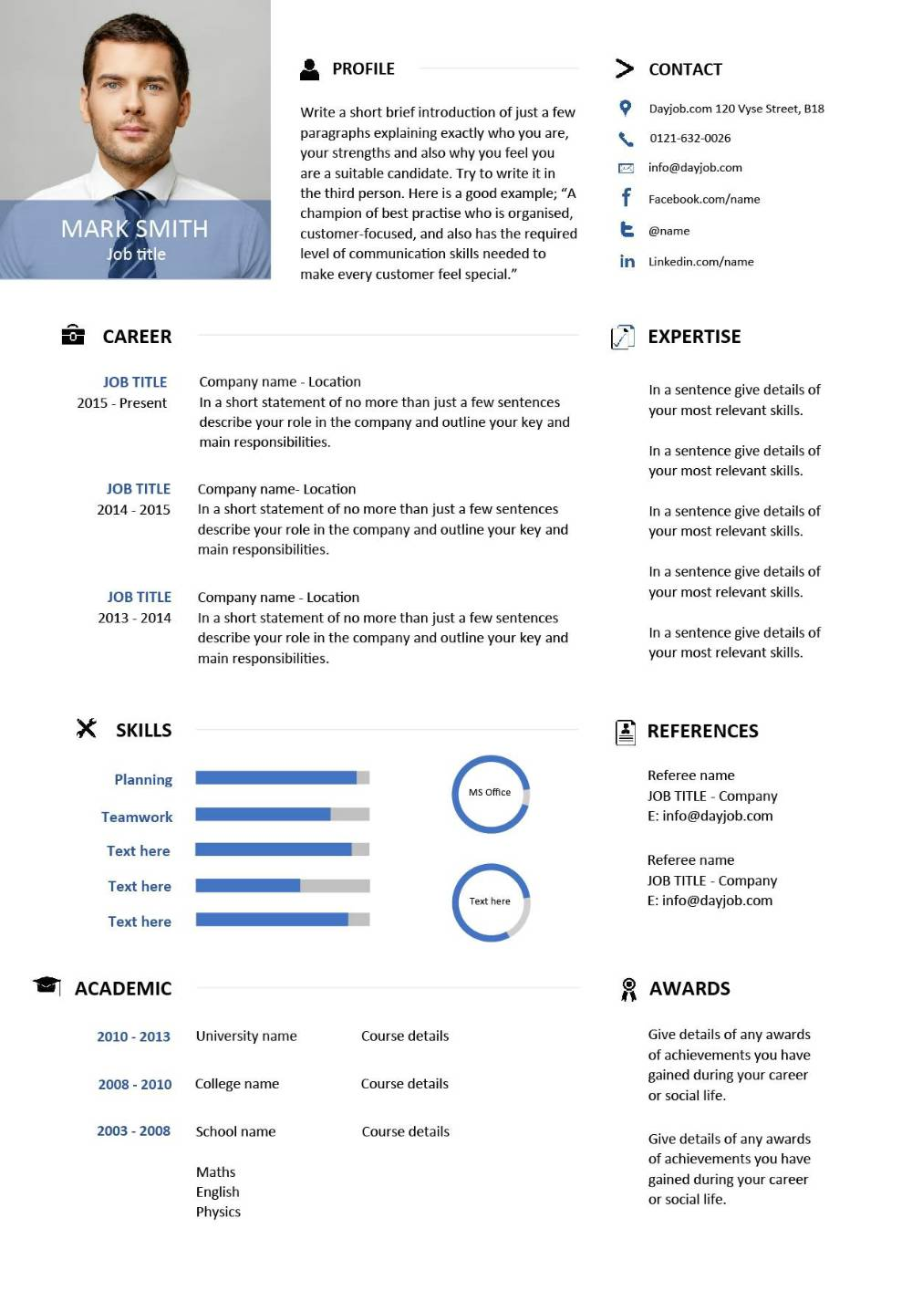 Modern resume template 6 examples