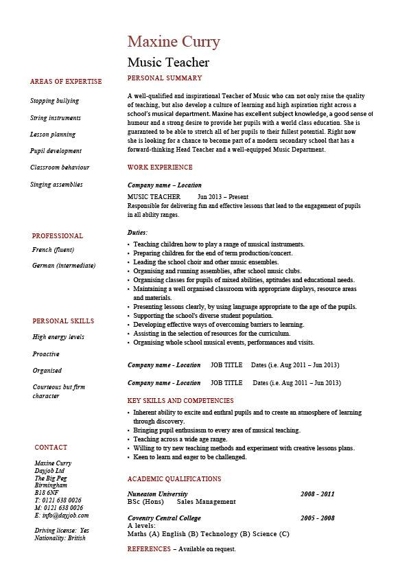 music teacher cv template  job description  resume