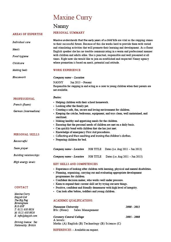 nanny resume  example  sample  babysitting  children