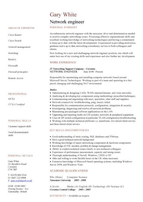 Network Engineer Cv Sample Cv Examples Technology Job Description