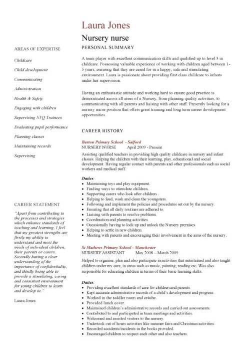 nursery nurse cv sample